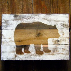 Bear Silhouette on Weathered Wood
