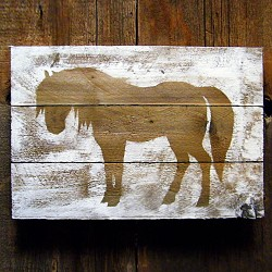 Horse Silhouette on Weathered Wood